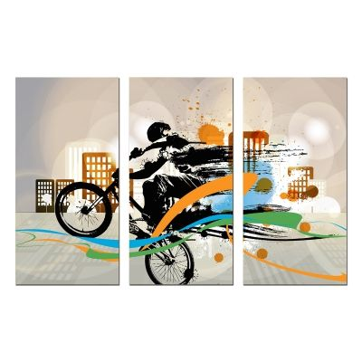 0770 Wall art decoration (set of 3 pieces) Abstract - boy with bicycle