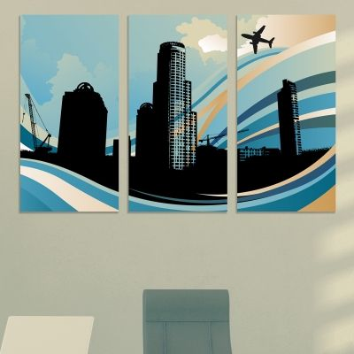 0773 Wall art decoration (set of 3 pieces) Abstract city