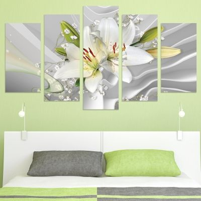 0774  Wall art decoration (set of 5 pieces) Abstraction - Lilium