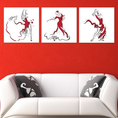 0775 Wall art decoration (set of 3 pieces) Woman dancer in red