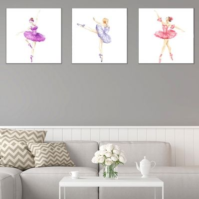 0777 Wall art decoration (set of 3 pieces) Ballerinas