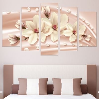 0778  Wall art decoration (set of 5 pieces) Abstraction - Magnolias and diamonds