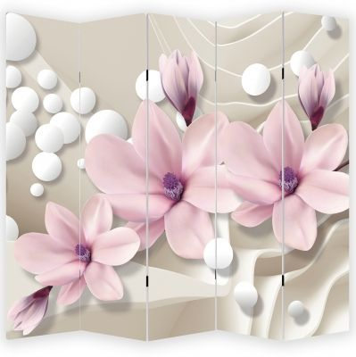P9026 Decorative Screen Room divider Magnolias and spheres (3,4,5 or 6 panels)