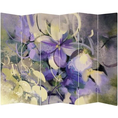 P0669 Decorative Screen Room divider Art flowers in purple and white (3,4,5 or 6 panels)