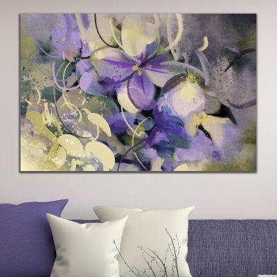 0669_1 Wall art decoration Art flowers in purple and white