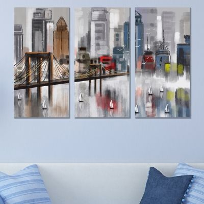 9073 Wall art decoration (set of 3 pieces) Abstract city