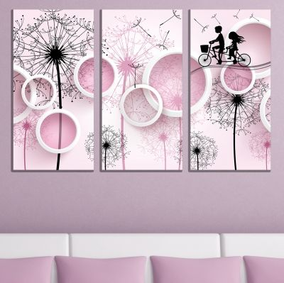 9077 Wall art decoration (set of 3 pieces) Dandelions and circles
