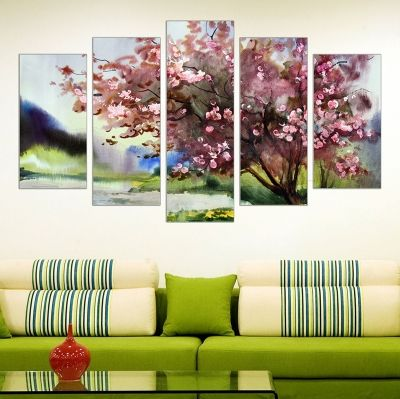 0128 Wall art decoration (set of 5 pieces) Colorful spring