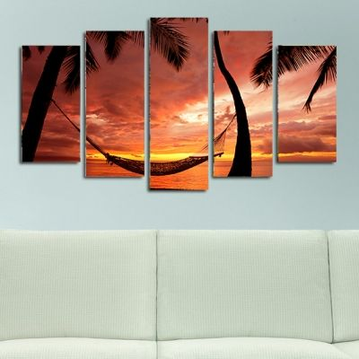 0129 Wall art decoration (set of 5 pieces) Exotic sunset