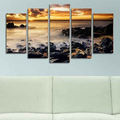 0130 Wall art decoration (set of 5 pieces) Sea sunset