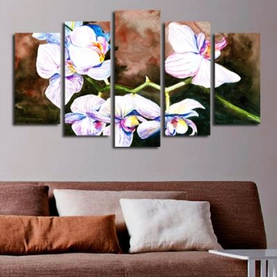 0132 Wall art decoration (set of 5 pieces) Art orchids