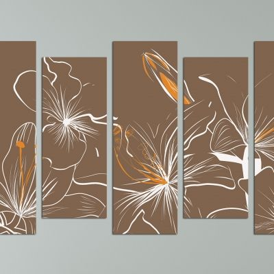 Floral canvas art in brown and orange