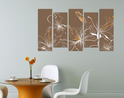 Floral wall decoration in brown and orange
