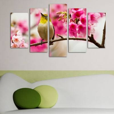 0144  Wall art decoration (set of 5 pieces) Spring