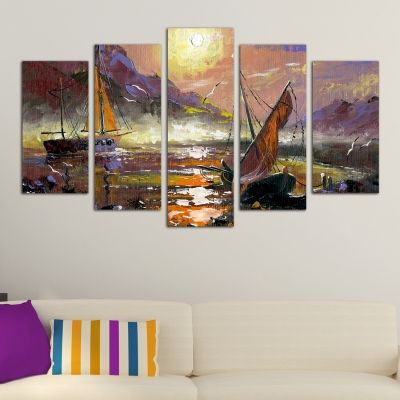 0154 Wall art decoration (set of 5 pieces) Sea landscape with boats