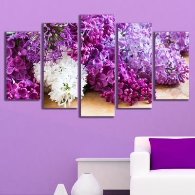 0165 Wall art decoration (set of 5 pieces) Lilac