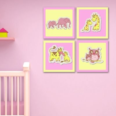 0175_2  Wall art decoration for kids (set of 4 pieces) Animals couples (pink and yellow)