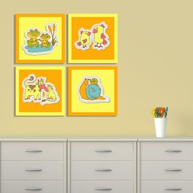 0175_3  Wall art decoration for kids (set of 4 pieces) Animals couples (orange and yellow)