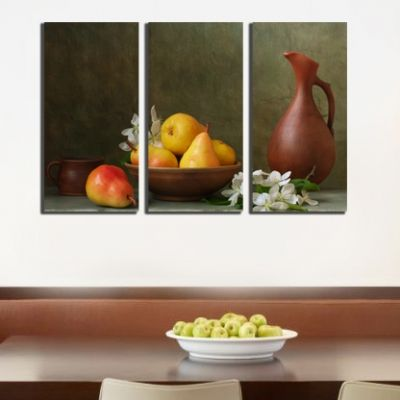 0180 Wall art decoration (set of 3 pieces) Composition with pears