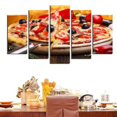 0186  Wall art decoration (set of 5 pieces) Pizza