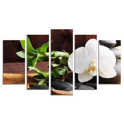 Canvas wall art with white orchid SPA