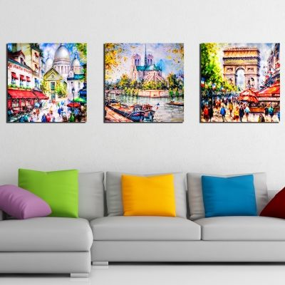 0194 Wall art decoration (set of 3 pieces) Paris