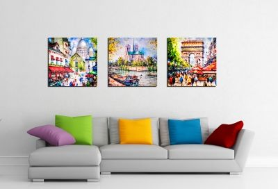 Wall art set of 3 paintings Paris