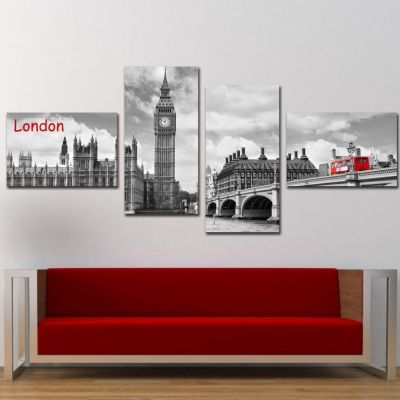 0197_2 Wall art decoration (set of 4 pieces) London
