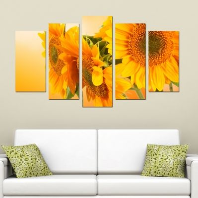 0203 Wall art decoration (set of 5 pieces) Sunflowers
