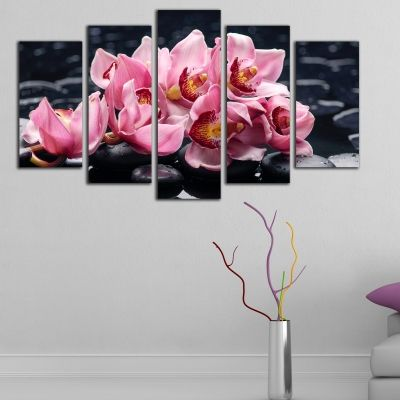 0205 Wall art decoration (set of 5 pieces) Pink orchids