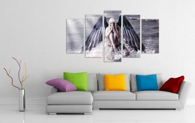 wall art decoration with angel-woman