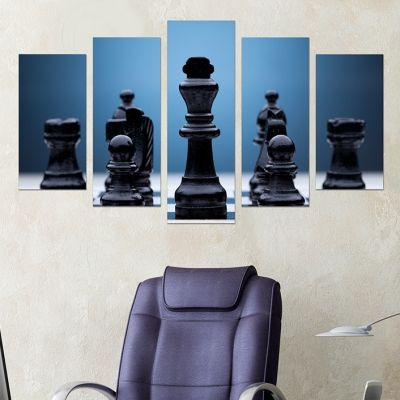 0224 Wall art decoration (set of 5 pieces) Chess
