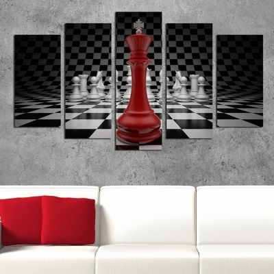 0225 Wall art decoration (set of 5 pieces) Chess