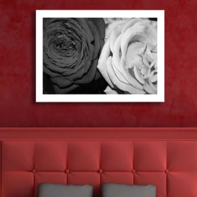 0026 Wall art decoration Roses - black and white